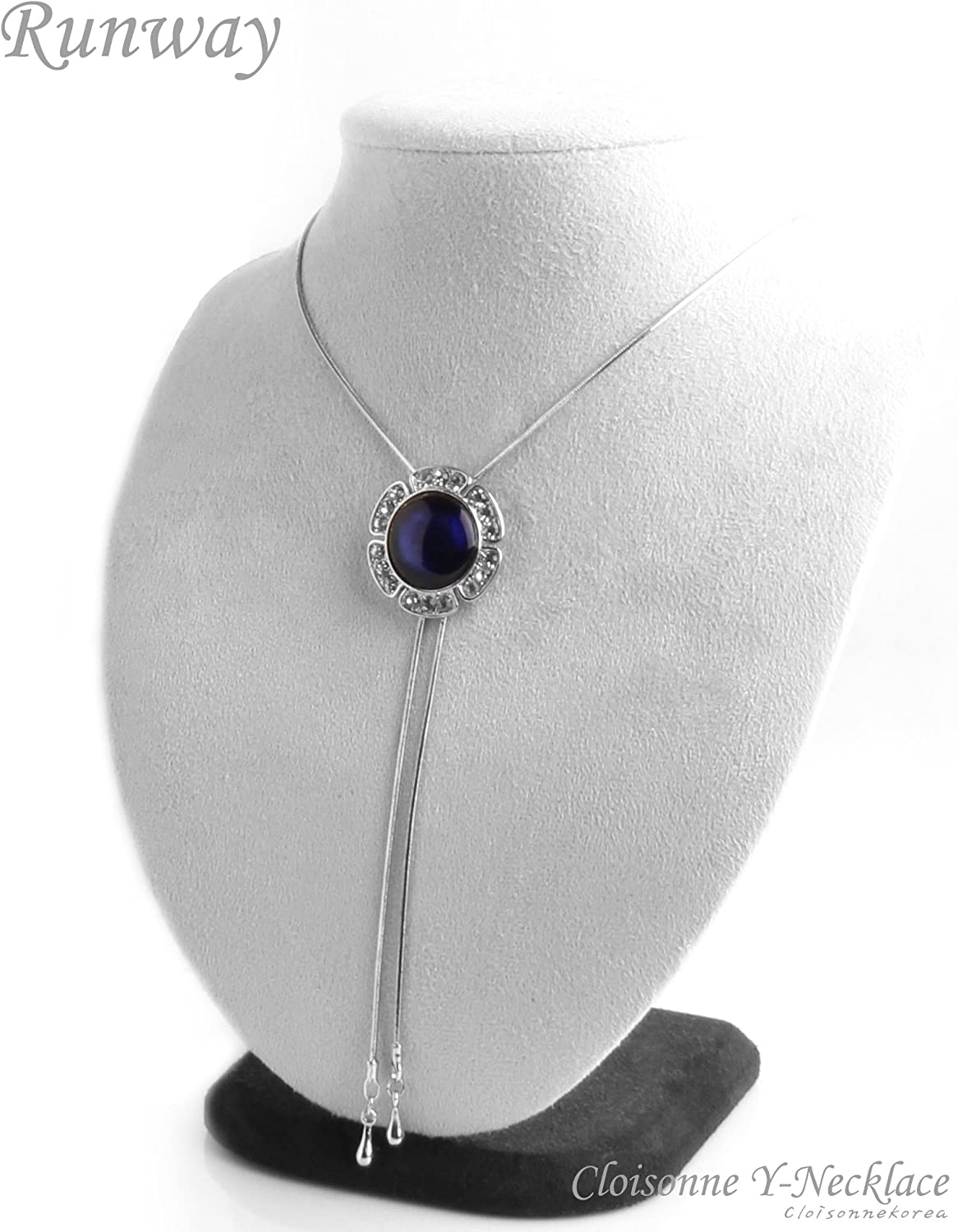 Necklace Cloisonne Easy Sliding Y-Neck Womens Metal Blue Runway W217