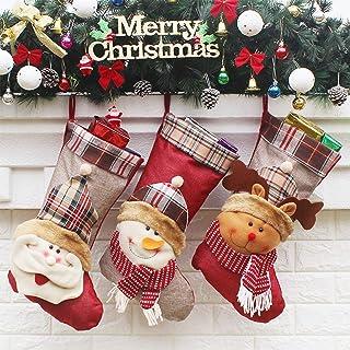 Bainuojia - Botas de Papá Noel para Rellenar y Colgar (Fieltro, con Bordado navideño), Color Rojo, Blanco y Verde
