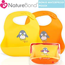 NatureBond Waterproof Silicone Baby Bibs for Babies & Toddlers (2 PCs)   Free Waterproof Pouch   Wipes Clean Easily, Soft, High Quality, Unisex, Adorable   Perfect Baby Shower Gift