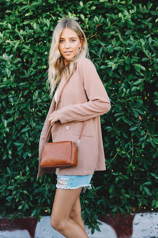 Small Triple Zip Crossbody Bag (Black): Handbags: