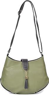 Aisna Women's Divine Sling Bag (ASNB-044)(Green::Black)