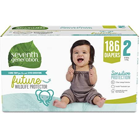Seventh Generation Baby Diapers, Size 2, 186 count, One Month Supply, for Sensitive Skin