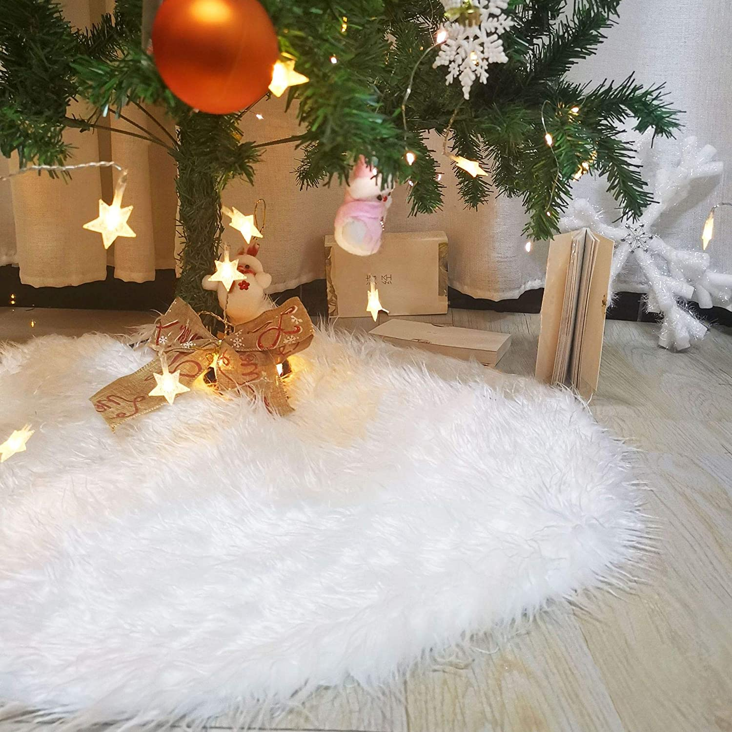 78cm Christmas Tree Collar Skirts Decorations 30 Inches White Faux ...