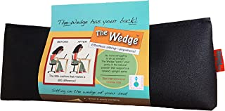 Effective Posture Correction Cushion for Office Chair, Car Seat and Travel - Back Pain and Sciatica Relief and Lumbar Support with Simple, Unique Orthopedic Wedge Pillow Features - Made in USA, Black