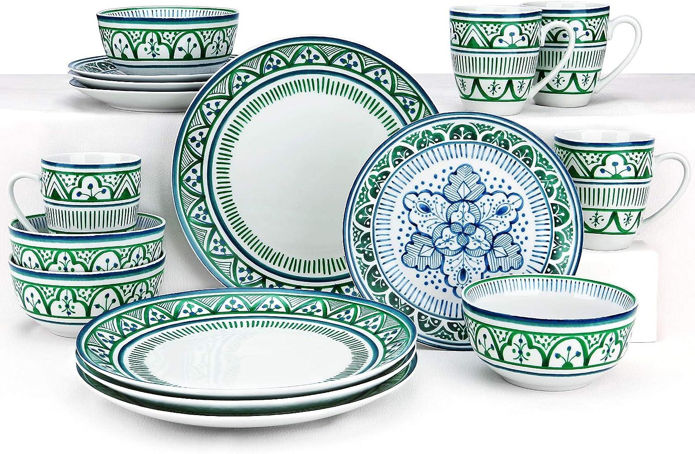 ZYAN 16 Piece Round Dinnerware Sets, Green Moroccan Bazaar Stoneware Dish Set, Dishwasher Safe Plates and Bowls Sets for 4