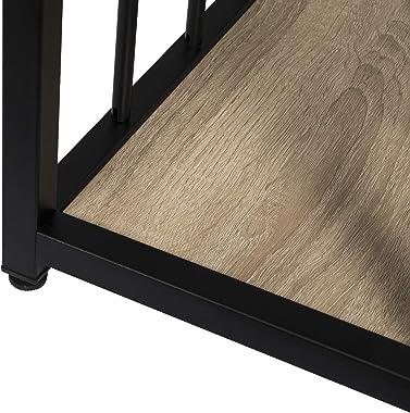 WOLTU BT25hei Table de Bar Table de Bistrot Table de comptoir avec 2 tablettes, Structure en métal Plateau en MDF,120x50x105c