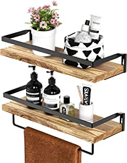 STOREMIC Floating Shelves, Rustic Wall Shelves Set of 2 with Length 42cm, Removable Towel Holder, Wall Mounted Shelves for...