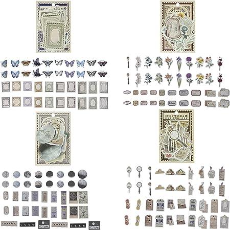 KRUCE 160 pièces d'autocollants de scrapbooking vintage, autocollants antiques parchemin ancien papier de scrapbooking rétro pour Bullet Journals, planificateurs, fournitures de scrapbooking