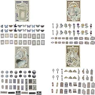 KRUCE 160 pièces d'autocollants de scrapbooking vintage, autocollants antiques parchemin ancien papier de scrapbooking rét...
