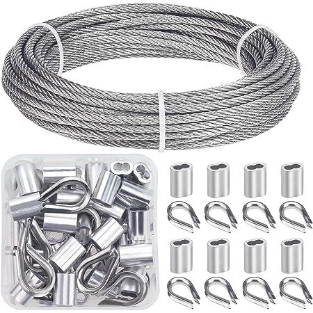 CYH Juego de Barandas de Cable Acero 40X Dedal Guardacabos de cuerda de cable para Aparejos de Cable de Alambre 100X M3 Manguitos Fundas para Cuerda de Cable de Aluminio de Bucle de Doble Orificio