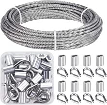 Favordrory Cable Railing Kits Includes 1/8 Inch x 33 Feet 304 Stainless Steel Wire Rope Cable, 50 Pieces Aluminum Crimping Sleeves and 12 Pieces Thimbles for Railing, Decking, Picture Hanging