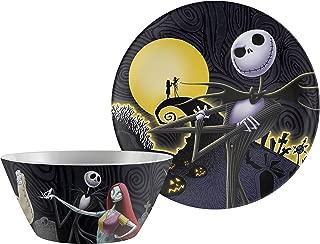 Zak Designs NBCD-0660-AMZ Halloween Dinnerware Durable Melamine Plastic Tableware, Plate & Bowl, Nightmare Before Christmas 2pc Set