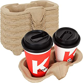 2 Cup Molded Fiber Drink Carrier 8-24 oz Cups - Biodegradable and Great for All Your Beverage Needs and Packing to Take Ou...