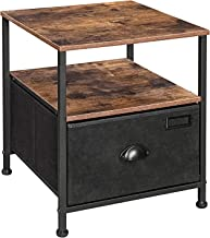 SONGMICS Nightstand, 3-Tier Bedside Table with Drawer, 2 Shelves, Fabric Drawer Dresser, Industrial End Table, for, Hallwa...