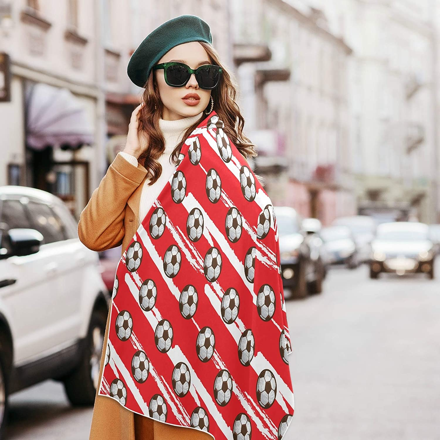 Scarf for Women and Men Football Soccer Red White Shawls Blanket Scarf wraps Soft Thick Winter Large Scarves Lightweight