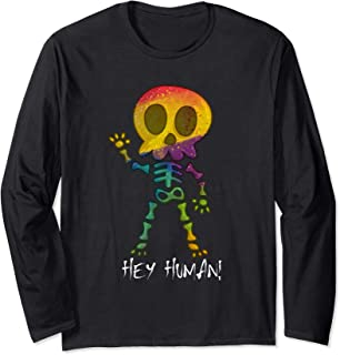 Dead Skeleton Waving Hey Human Halloween costume Long Sleeve T-Shirt