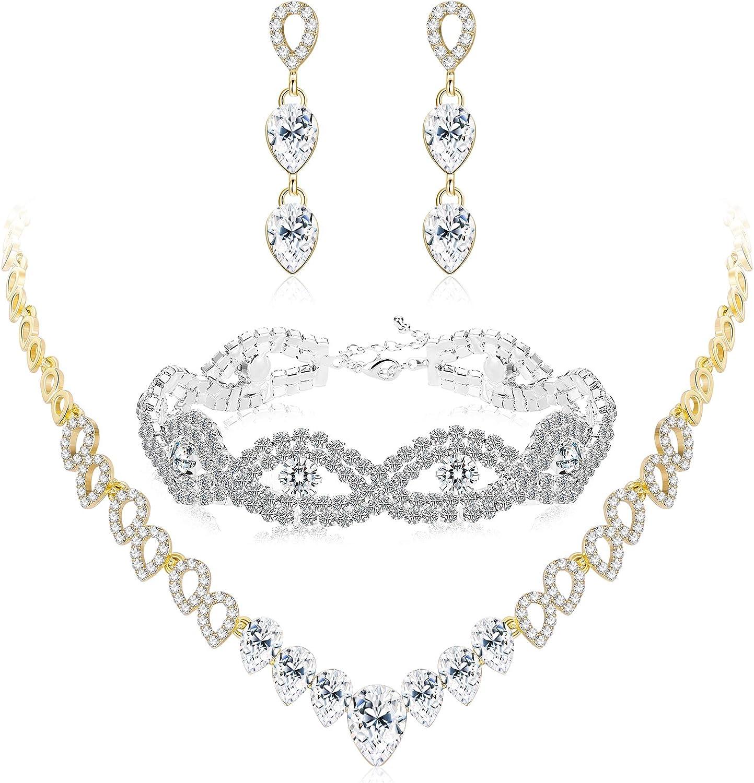 THUNARAZ Crystal Bridal Jewelry Set for Women Rhinestone Necklace Earrings Bracelet Wedding Bridesmaid Set