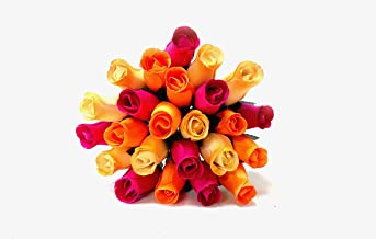 24 Realistic Wooden Roses Flowers - Oranges & Pinks - You Are My Sunshine