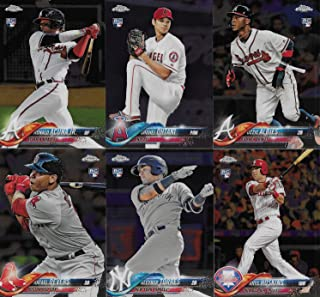 2018 Topps CHROME Baseball Series Complete Mint 200 Card Set with Rookies and Stars including Bryce Harper, Mike Trout, Shohei Otani, Gleyber Torres, Ronald Ocuna plus