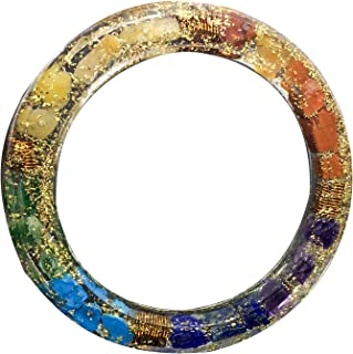 Crocon Exclusive Seven Chakra Orgone Bangle Bracelet with 4 Copper Spring for Women Crystal Energy Generator Reiki Healing Balancing EMF Protection Gemstone Gift Size: 2.5 Inch