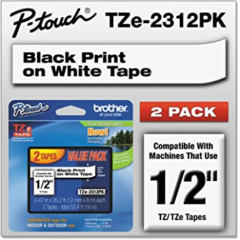 Amazon Com Tze Standard Adhesive Laminated Labeling Tapes 1 2 W Black On White 2 Pack Office Products