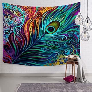 Sunm boutique Colorful Peacock Feather Tapestry, Abstract Art Wall Tapestry Wall Hanging Psychedelic Tapestries for Wall Decoration (Peacock Feather, 51.2