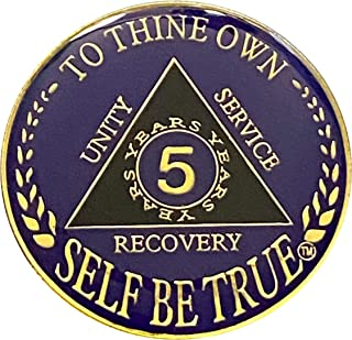 5 Year AA Gold Plated Medallion, Recovery Token, AA Token, Alcoholics Anonymous Chip