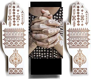Rose Gold Henna Temporary Tattoos - Sexy Jewel Henna Designs - Be the Show Stopper by Beautifying your Hands or Feet with Delicate Henna Patterns