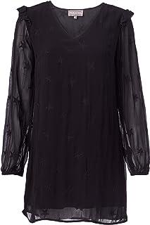 Michael Stars Women's Star Embroidered Georgette Long Sleeve V-Neck Shift Dress