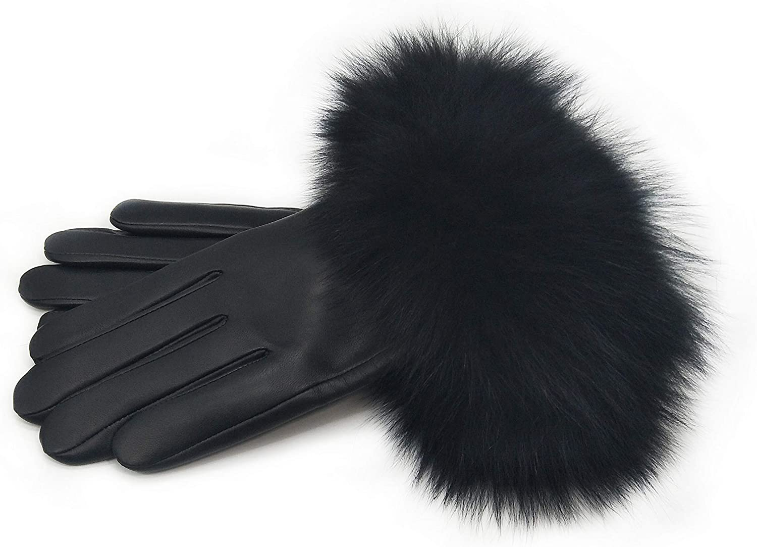 Cashmere Lined Premium Lambskin Leather Gloves with Fox Fur Trim