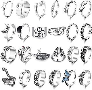 FIBO STEEL 24Pcs Goth Vintage Open Rings for Women Men Teen Adjustable Punk Vintage Snake Frog Moon Star Heart Butterfly G...