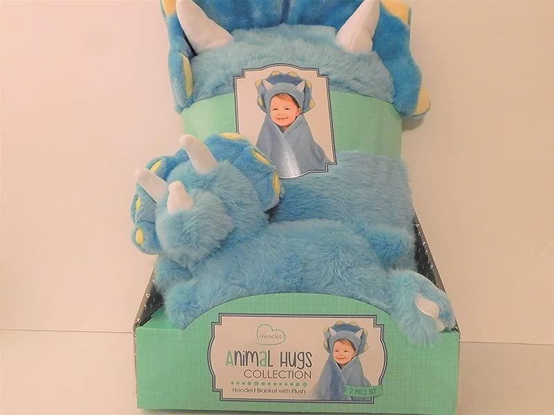 Animal Hugs Hooded Blue Dinosaur Blanket With Plush