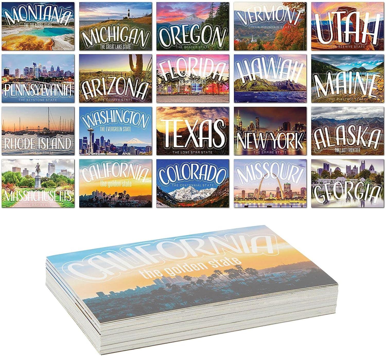 Super popular specialty store Vintage Travel Over item handling ☆ Blank Postcards for Designs US State 20 Mailing