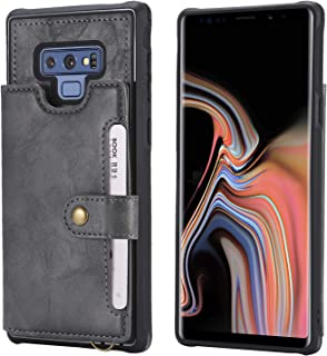 Galaxy Note 9 Case,Leather Grey Wallet Card Slot Wrist Hand Kickstand Protective Magnetic Snap Men Boy Girl Durable Cover Shell