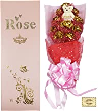 JEWEL FUEL Valentine's Day Gift 24K Gold 10 Roses Bouquet and a Teddy with Gift Box (21 Inches)