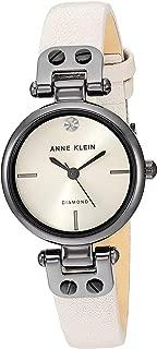 Anne Klein Women's Genuine Diamond Dial Gunmetal and Cream Leather Strap Watch, AK/3513GYCR