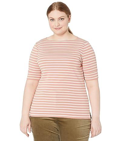 LAUREN Ralph Lauren Plus Size Striped Cotton Blend Top (Mosaic Pink/Mascarpone Cream) Women
