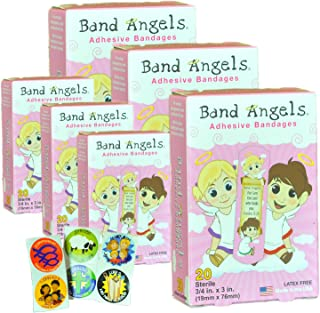 Band Angels Kids Bandaids Cute and Colorful Bandaids Kids Will Love with Bible Verse, 6 (20 Count) Boxes with Inspirational Stickers