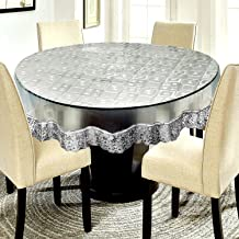 E-Retailer™ Waterproof Transparent Round Table Cover with Silver Lace Square Pattern(Suitable for 4 Seater, 60 inch Diameter)