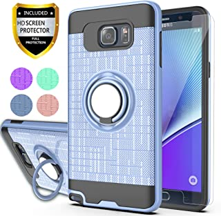 Note 5 Case,Galaxy Note 5 Case with HD Phone Screen Protector,Ymhxcy 360 Degree Rotating Ring & Bracket Dual Layer Resistant Back Cover for Galaxy Note 5-ZH Metal Slate