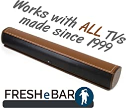 Bluetooth Leather Television Sound Bar - FRESHeBAR TV Soundbar - 24 inch, 90 Watt with Built-in Subwoofer - Dark Brown/Brown Leather