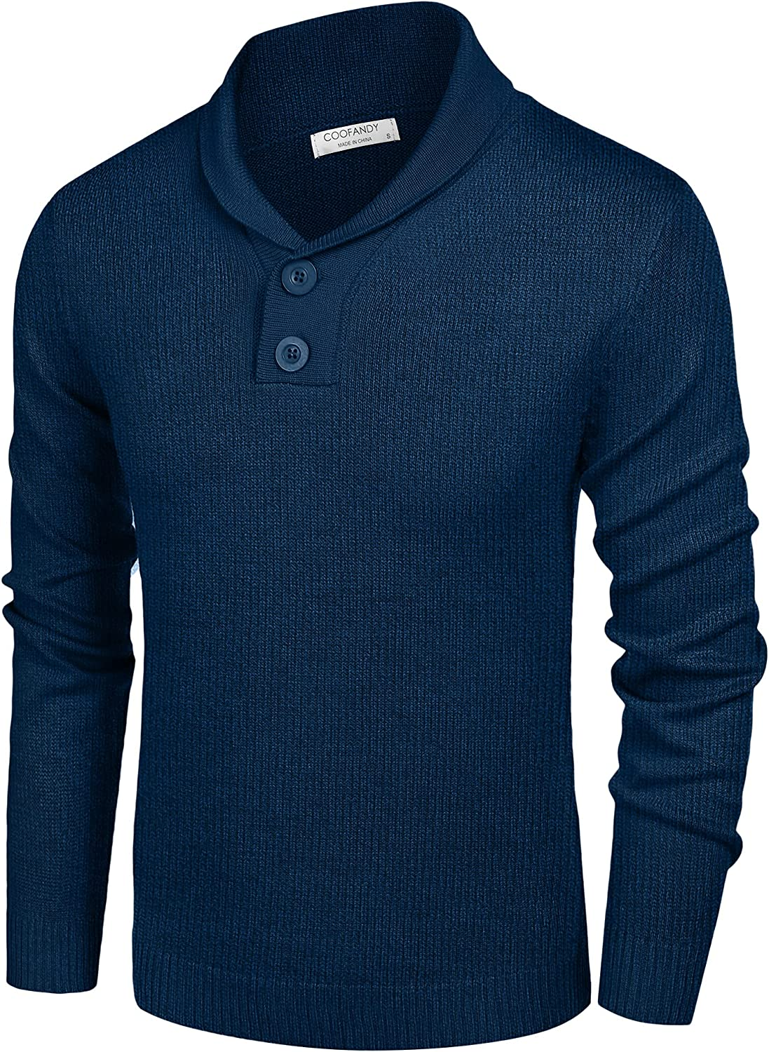 COOFANDY Men's Fashion Shawl Collar Pullover Casual Long Sleeve Knitted Sweater