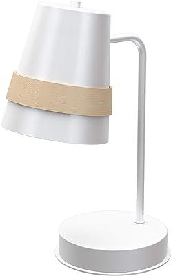 Homemania Lampe de table, métal, blanc, bois