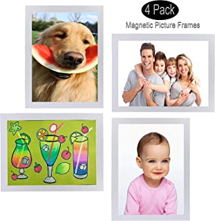 FO&OSOBEIT Magnetic or Sticky Two-in-one 4x6 Picture Frames 4 Pack Display Frames Picture Photo Frame for Wall Decor Pictures Organizer Display Frames Wall Hanging Vertical Horizontal