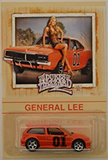 Hot Wheels Honda Civic EF Orange Custom-Made with Real Rider Rubber Wheels Limited Edition General Lee The Dukes of Hazzard Series 1:64 Scale Collectible Die Cast Model Car.