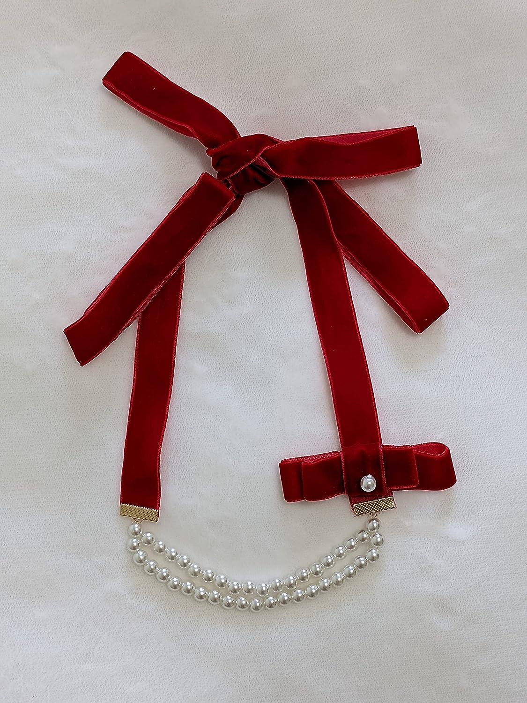 New arrival Elegant Pearls Beaded Popular standard Red Velvet Choker Adjustable Ribbon Neckla