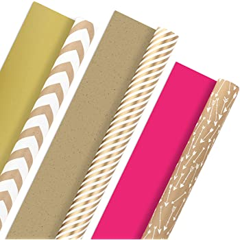 Hallmark Reversible Wrapping Paper, Kraft Gold and Pink (Pack of 3, 120 sq. ft. ttl.) for Mothers Day, Easter, Baby Showers, Birthdays, Weddings, Bridal Showers or Any Occasion