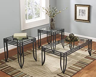 Roundhill Furniture Matrix 3-in-1 Metal Frame Accent Coffee & 2 End Table Set