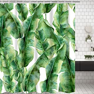Banana Leaf Bathroom Shower Curtain Green Banana Palm Leaves Shower Curtains with 12 Hooks, Durable Bath Curtain Waterproof Bathroom Curtain