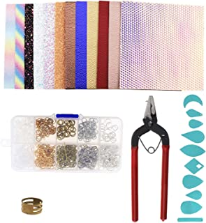 SING F LTD 12 Colors Faux Leather Fabric Sheet with Earring Hooks Jump Cut Molds Rings Plier for Earring Making Crafts